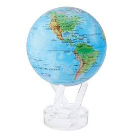 """Mova Globes RELIEF MAP BLUE (w/Acrylic Base, 4.5""""D.)"""