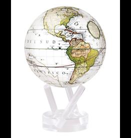 "Mova Globes ANTIQUE TERRESTRIAL WHITE (w/Acrylic Base, 4.5""D.)"