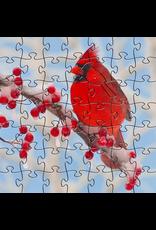 Zen Art & Design Winter Cardinal (Teaser, 50 Pieces, Artisanal Wooden Jigsaw Puzzle)