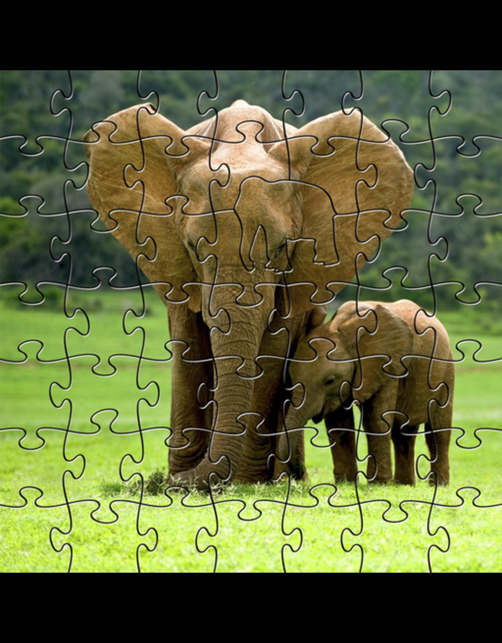 Zen Art & Design Elephants (Teaser, 50 Pieces, Artisanal Wooden Jigsaw Puzzle)