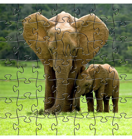 Zen Art & Design Elephants (Teaser, 50 Pieces, Artisanal Wooden Jigsaw Puzzle)