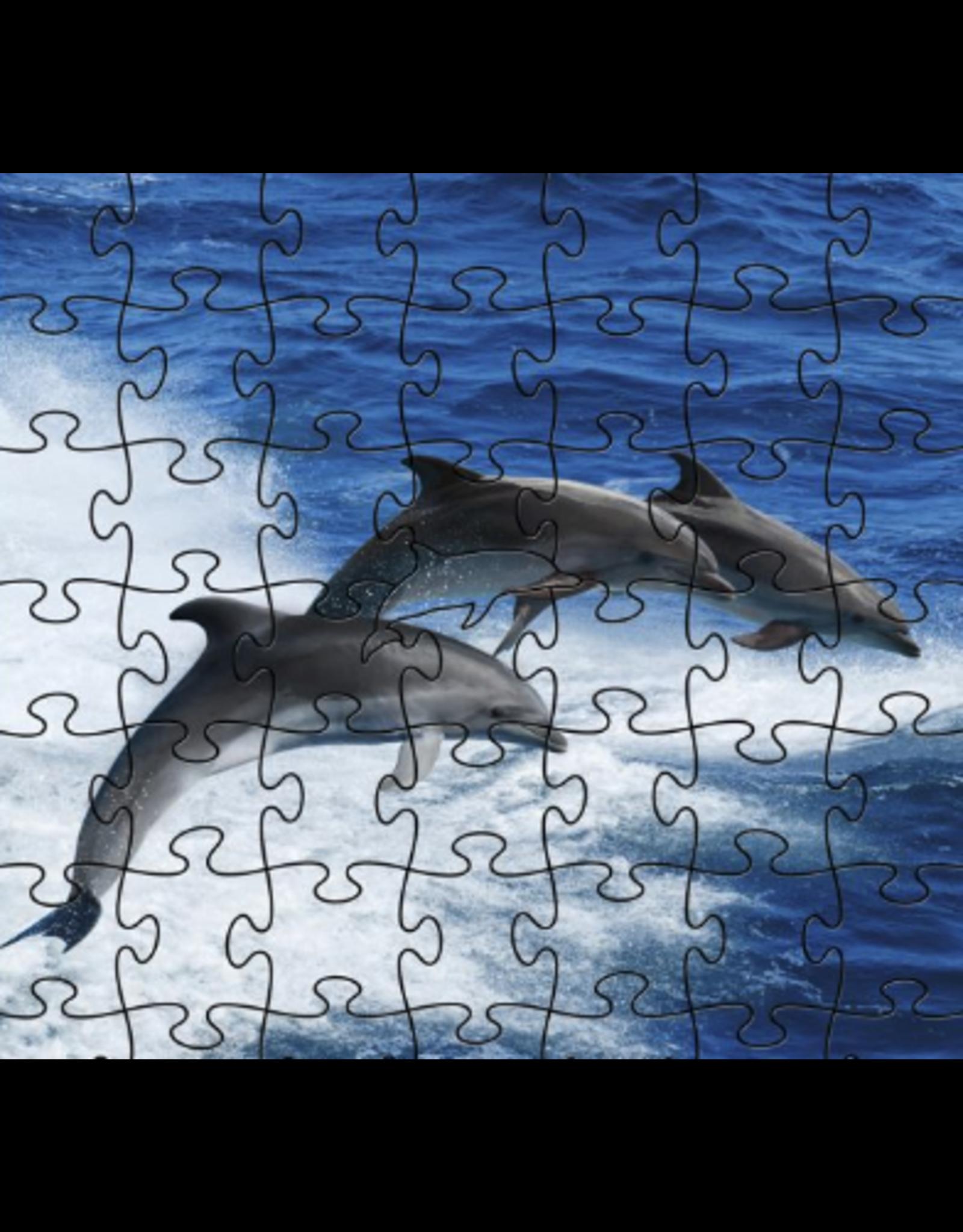 Zen Art & Design Dolphins (Teaser, 50 Pieces, Artisanal Wooden Jigsaw Puzzle)