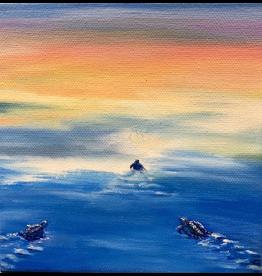 Susan Roberts Sunset Turtle I (Original Oil, Gallery Wrap, 6x6)
