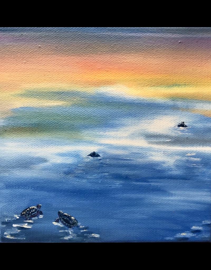 Susan Roberts Sunset Turtle II (Original Oil, Gallery Wrap, 6x6)