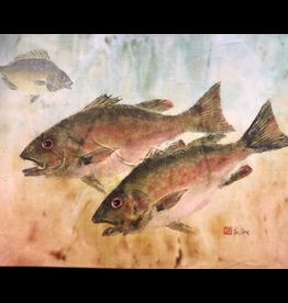 Ken Dara Mangrove Snapper (Gyotaku Original, 20x16, Floating Frame, Signed)