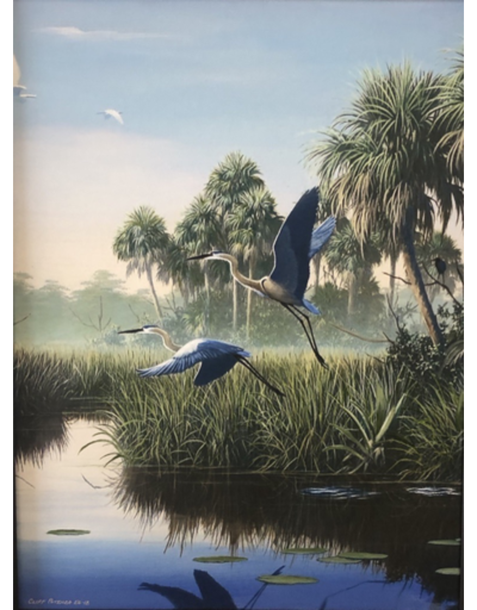 Cliff Potenza Herons in Flight (Embellished Giclee, LTD. ED. 4/10, 18x24, CLIP)