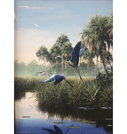 Cliff Potenza Herons in Flight (Embellished Giclee, 18x24)
