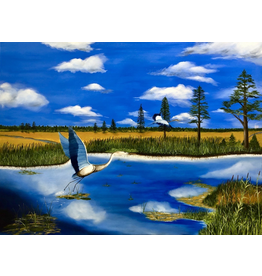 Cliff Potenza The Lowlands Salt Marsh (Original Oil, Signed, 30x4, CLIP)