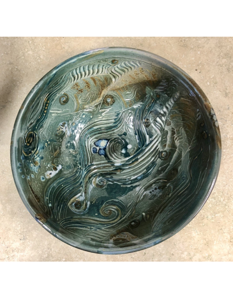 Gail Snively BOWL (Carved Fish, Lg, #441)