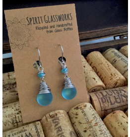 Spirit Glassworks EARRINGS (Wrapped Drop Frost, Recycled Glass Bottles, MELW)