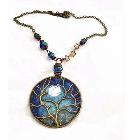 Spirit Glassworks TREE CHAIN NECKLACE (Recycled Glass Bottles)