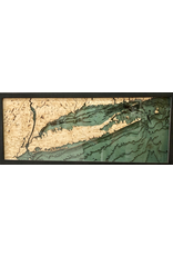 WoodCharts Long Island Sound (ALL, Bathymetric 3-D Wood Carved Nautical Chart)