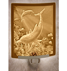 Porcelain Garden DOLPHINS (Lithophane Nightlight)