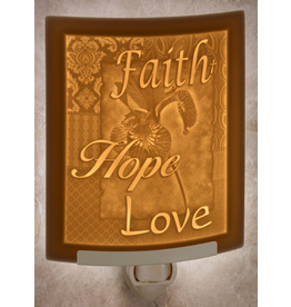 Porcelain Garden FAITH HOPE LOVE (Lithophane Nightlight)