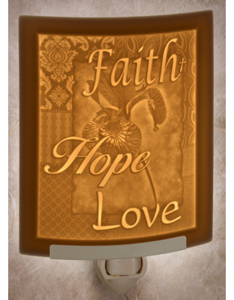 Porcelain Garden FAITH HOPE LOVE (Lithophane Nightlight)