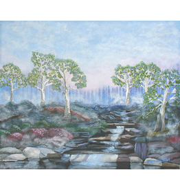"Robert Hinkelman Soft Sunrise at the Stream (Original Acrylic, Signed, Framed, 18x24"")"