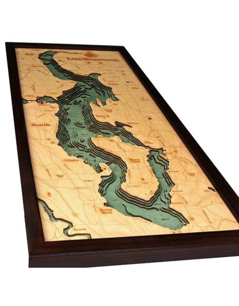 WoodCharts Lake Washington (Bathymetric 3-D Wood Carved Nautical Chart)