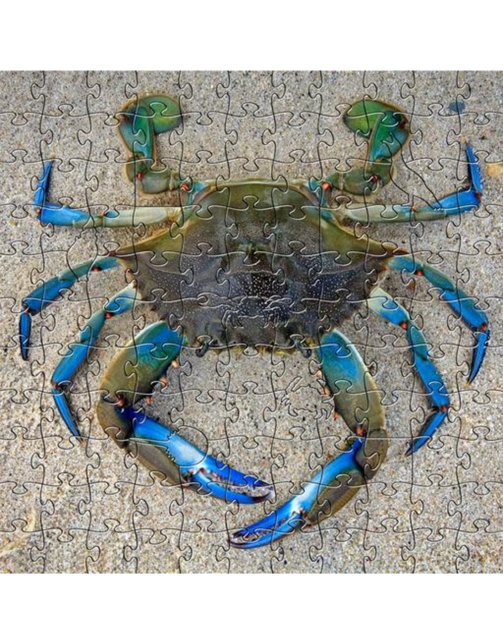 Zen Art & Design Blue Crab (Sm, 126 Pieces, Artisanal Wooden Jigsaw Puzzle)