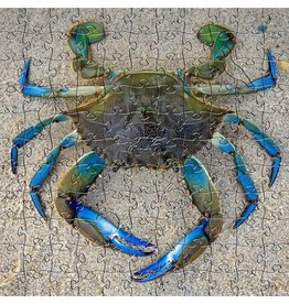 Zen Art & Design Blue Crab (Sm, 125 Pieces, Artisanal Wooden Jigsaw Puzzle)