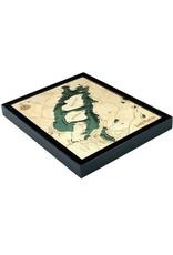 WoodCharts Lake Placid, NY (Bathymetric 3-D Wood Carved Nautical Chart)