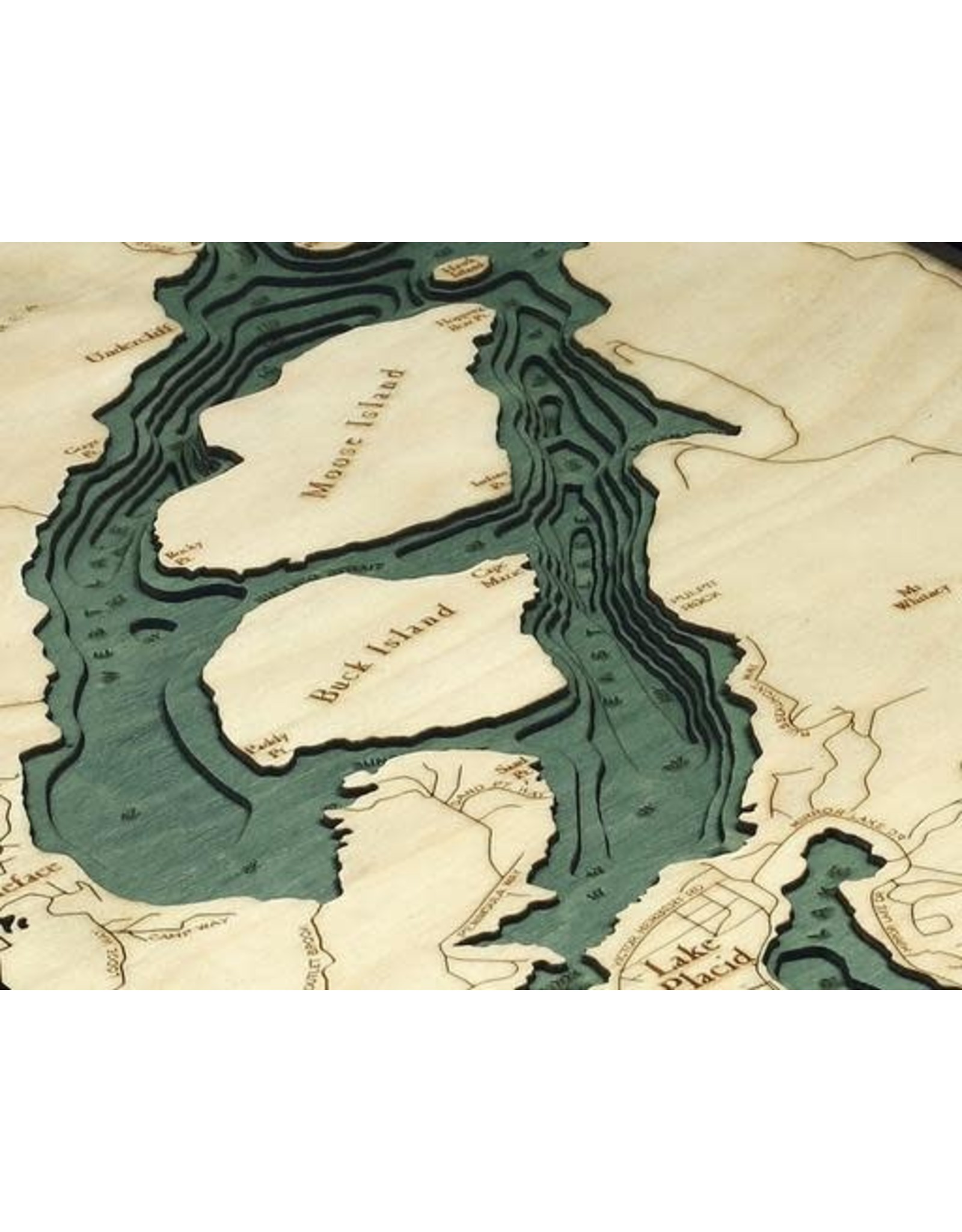 WoodCharts Lake Placid, NY (Bathymetric 3-D Nautical WOODCHART)