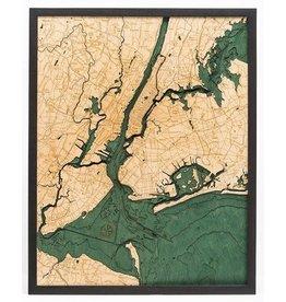 WoodCharts 5 Boroughs of New York (Bathymetric 3-D Nautical WOODCHART)