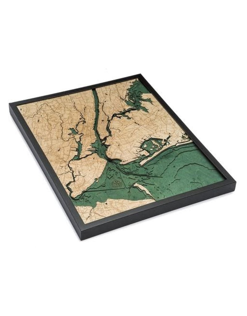 WoodCharts 5 Boroughs of New York (Bathymetric 3-D Wood Carved Nautical Chart)