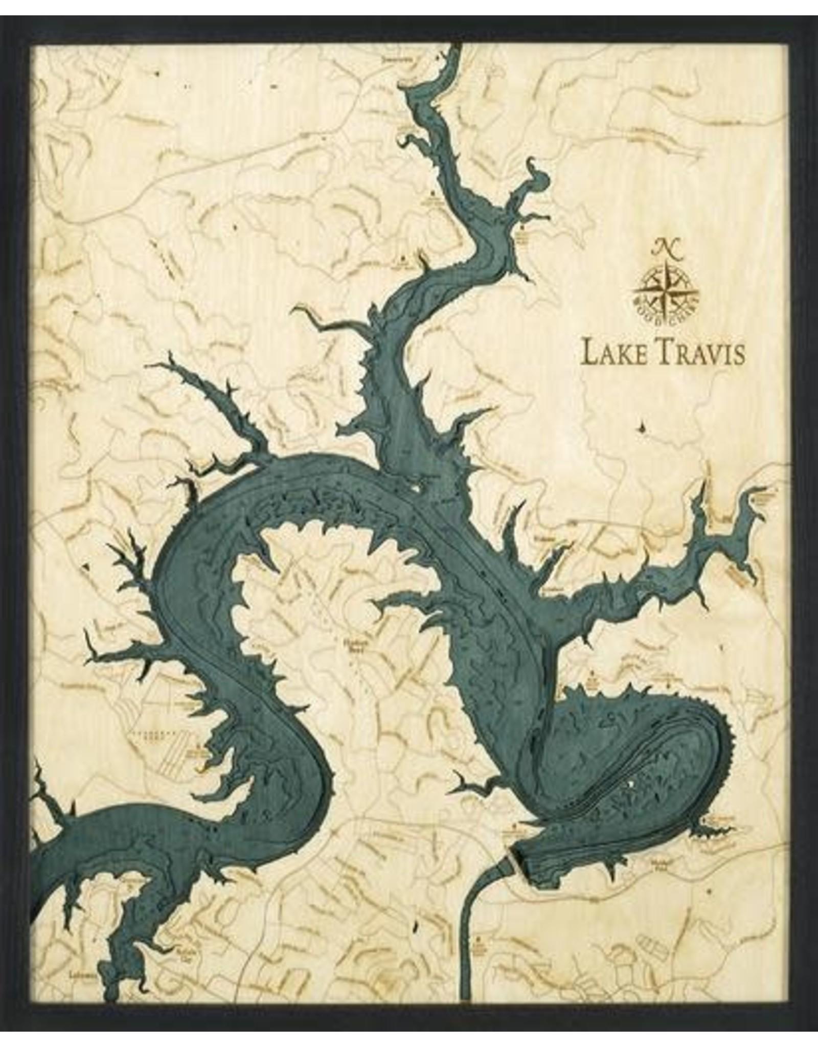 WoodCharts Lake Travis, TX (Bathymetric 3-D Wood Carved Nautical Chart)