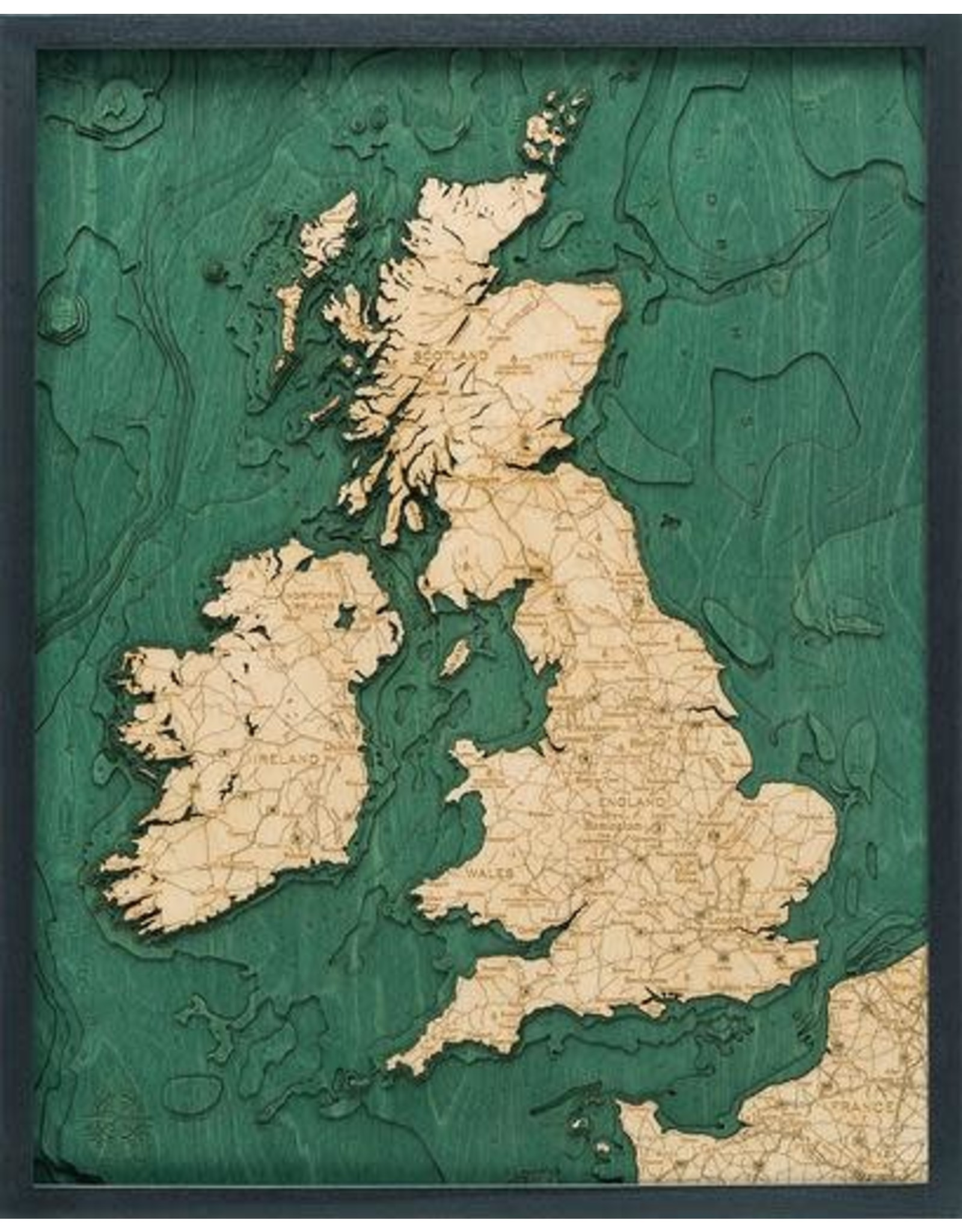 WoodCharts United Kingdom (Bathymetric 3-D Wood Carved Nautical Chart)