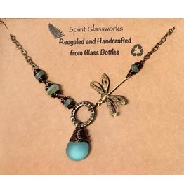 Spirit Glassworks DRAGONFLY NECKLACE (Recycled Glass Bottles)