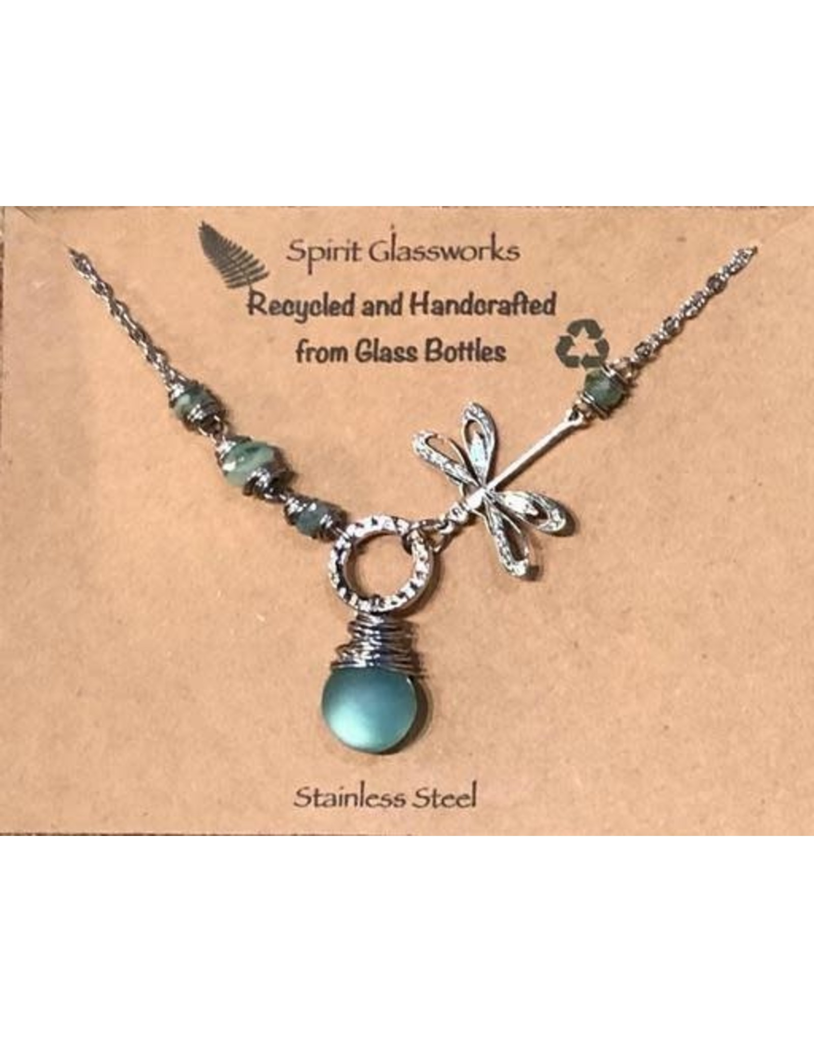 Spirit Glassworks DRAGONFLY V NECKLACE (Recycled Glass Bottles, MELW)