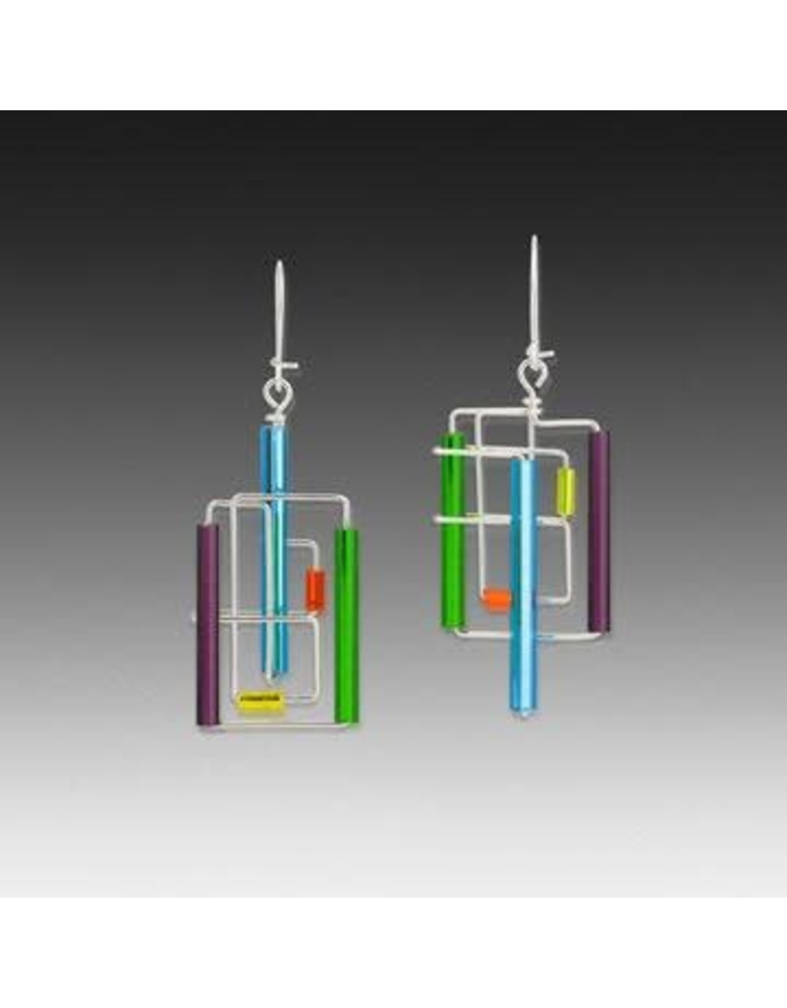 Barbie Levy BARB-WIRE EARRINGS (Sterling Silver + Glass Tubing)