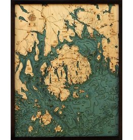 WoodCharts Bar Harbor / Mt. Desert Island (Bathymetric 3-D Wood Carved Nautical Chart)