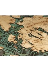 WoodCharts Bar Harbor / Mt. Desert Island (Bathymetric 3-D Wood Carved Nautical Chart)