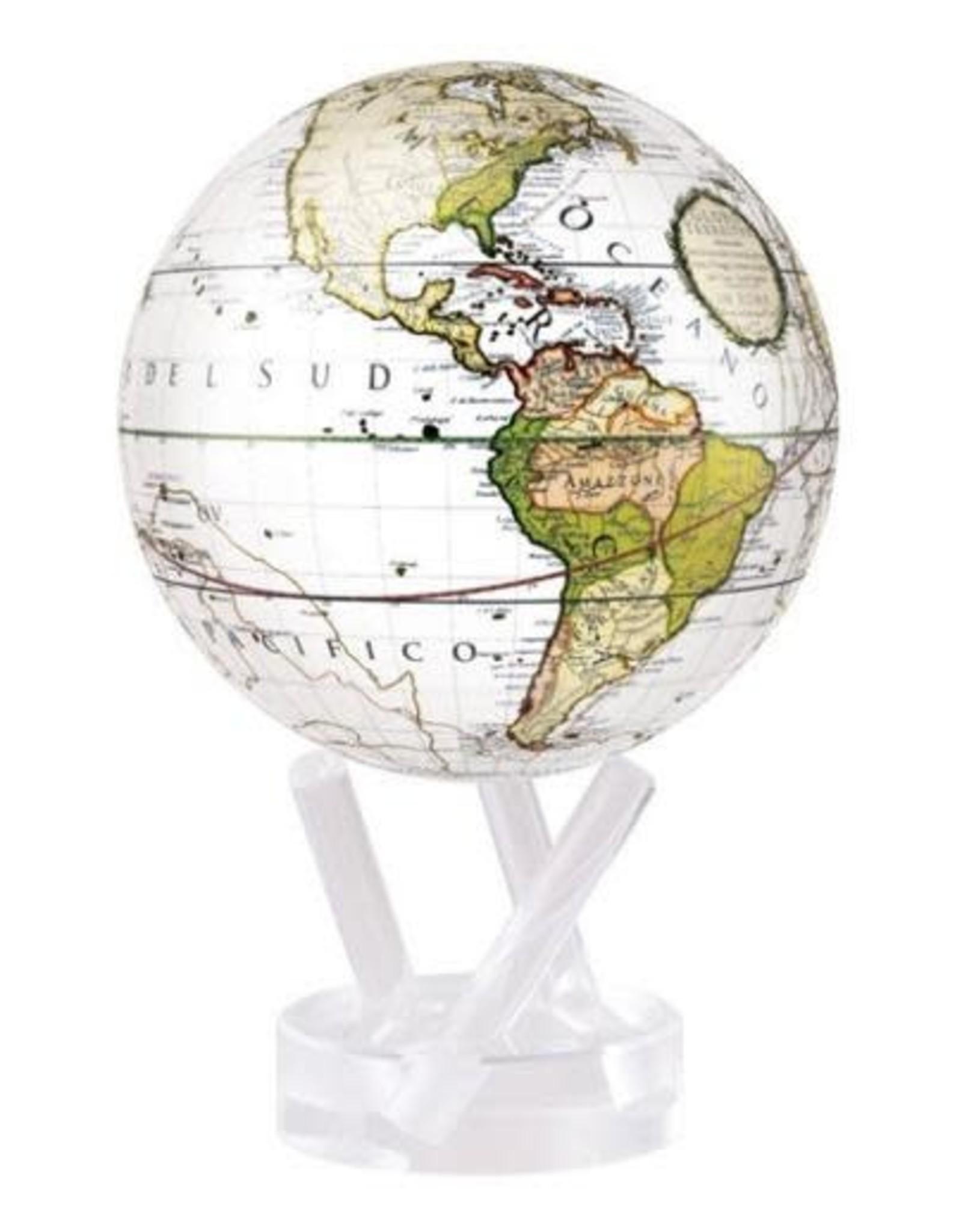 "Mova Globes ANTIQUE TERRESTRIAL WHITE (MOVA Globe 6"" w/Acrylic Base)"