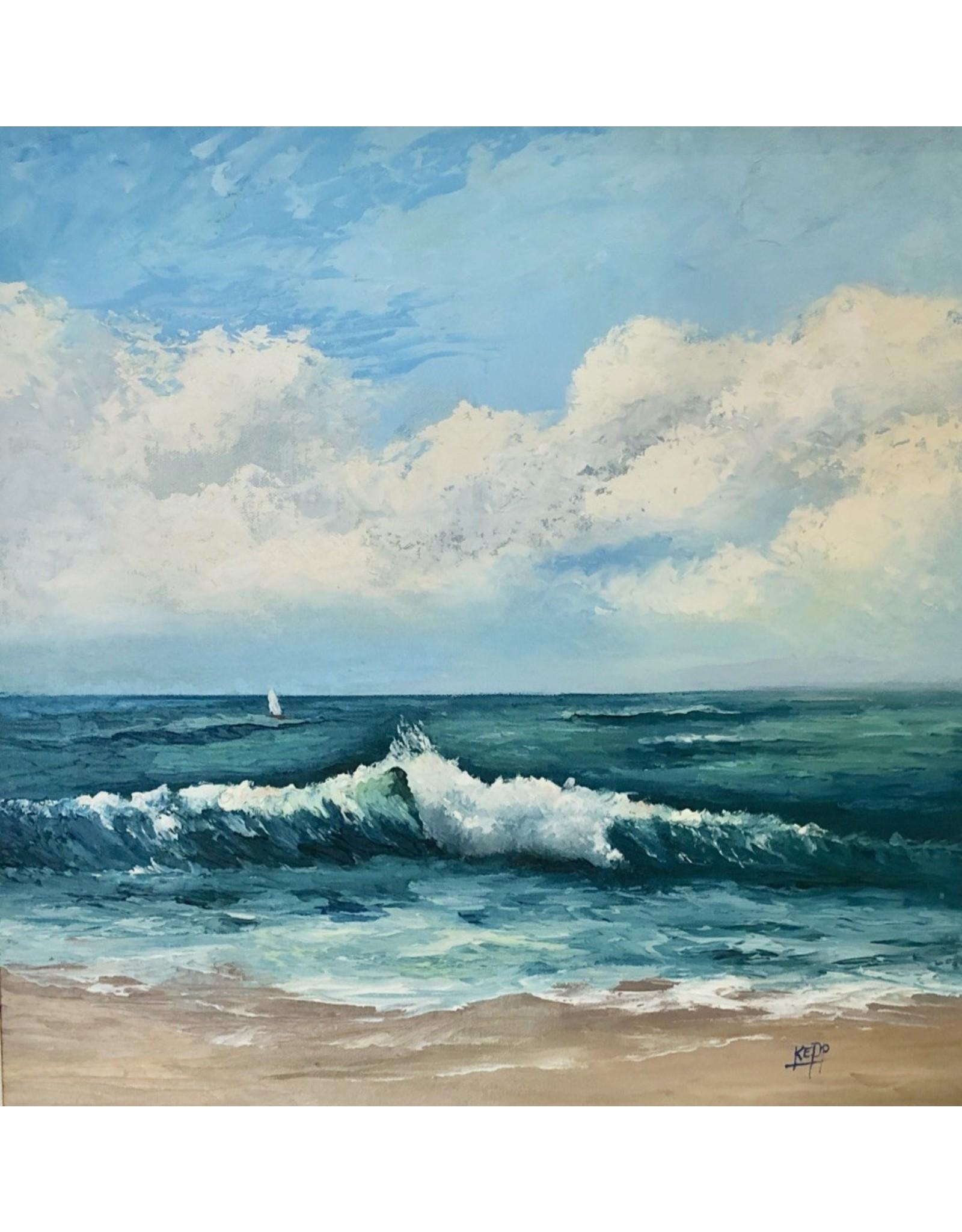 Carol Kepp Stuart Beach (Original Oil, Framed, Signed, 18x18)
