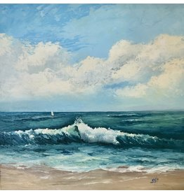 Carol Kepp Stuart Beach (Original Oil, Framed, Signed, 18x18, CARK)