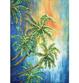 Carol Merritt Sunset Palms (Original Acrylic, Impasto, Signed, 18x24)