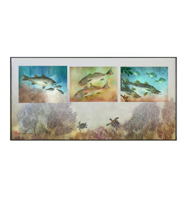 Ken Dara Gyotaku Fish Prints (Triples, Horizontal, Asstd., 20x10 Frame)