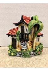 Ingrid Hooper Clay Touch Long Roof House w/Palm Tree