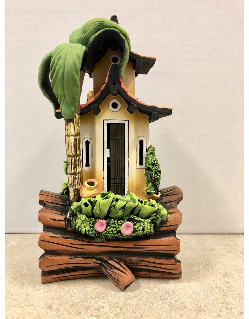 Ingrid Hooper Clay Touch Log House w/Palm Tree