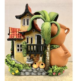 Ingrid Hooper Clay Touch House w/2 Stacked Pots & Palm Tree