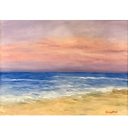Carolyn Sadowski Hutchinson Beach Sunset (Original Oil, Framed, Signed, 18x24)