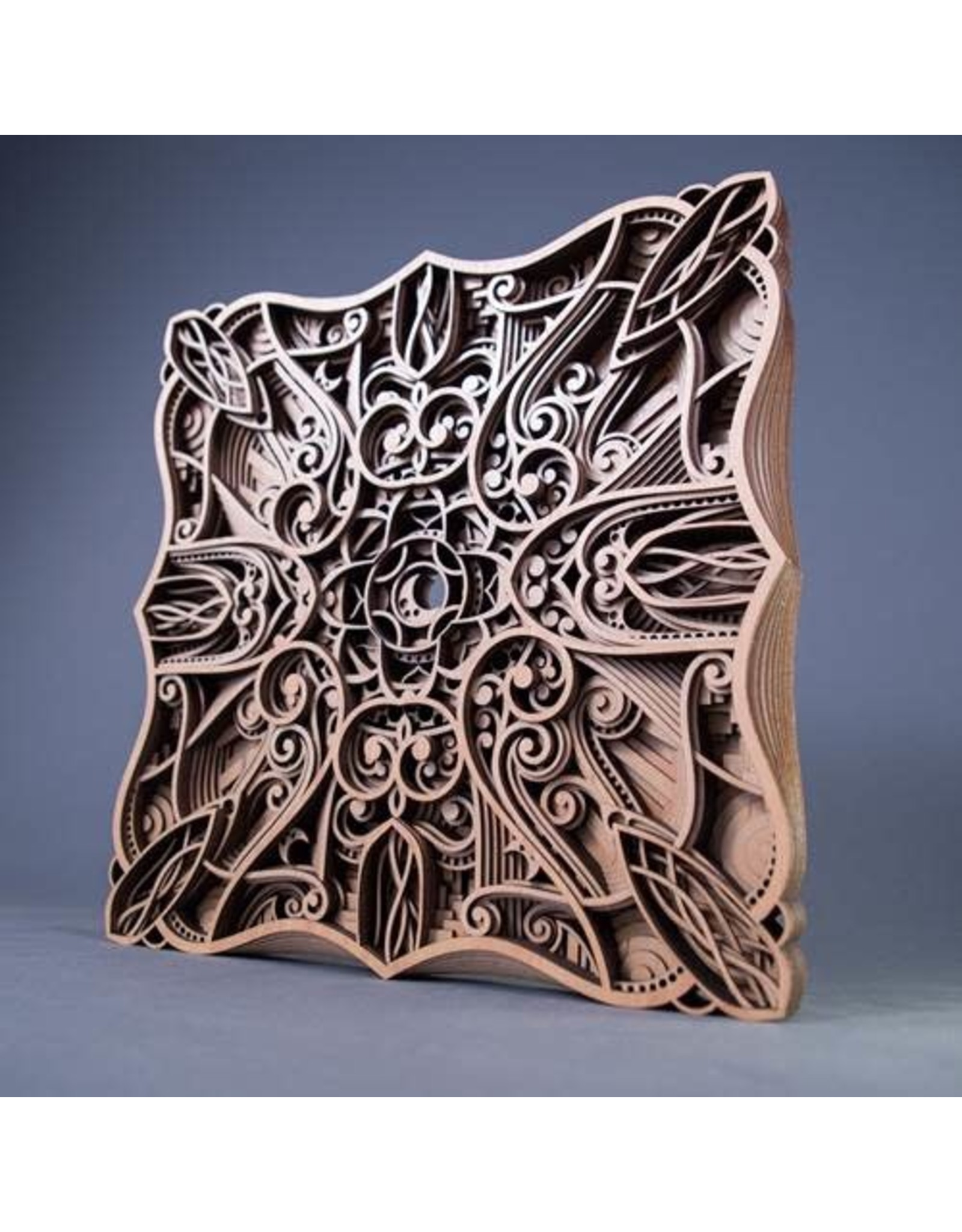 "Philip Roberts Luna (Wood Relief Sculpture, 16"" SQ)"