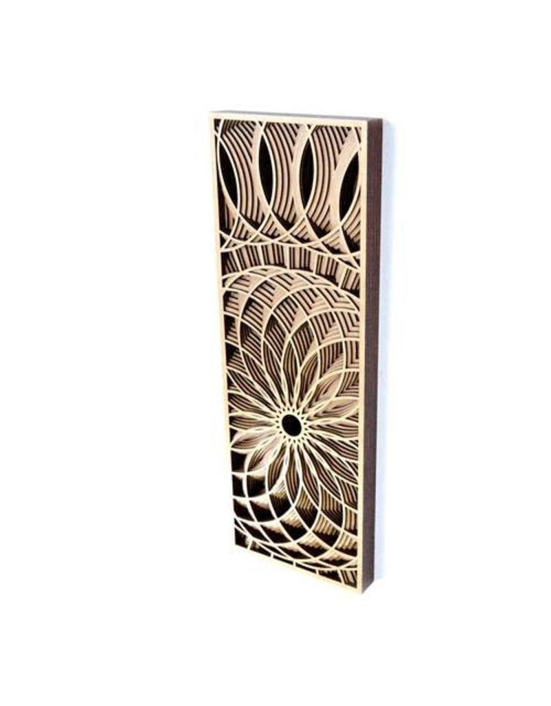 """Philip Roberts Dahlia (Wood Relief Sculpture, 16x6"""")"""