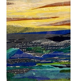 Pam Maschal Autumn Sky (Mixed Media Waterscape, Vintage Frame, 20x26)