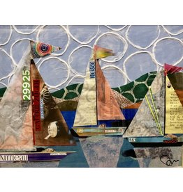 Pam Maschal Artifacts (Mixed Media Sailboats, Vintage Frame, 18x21)