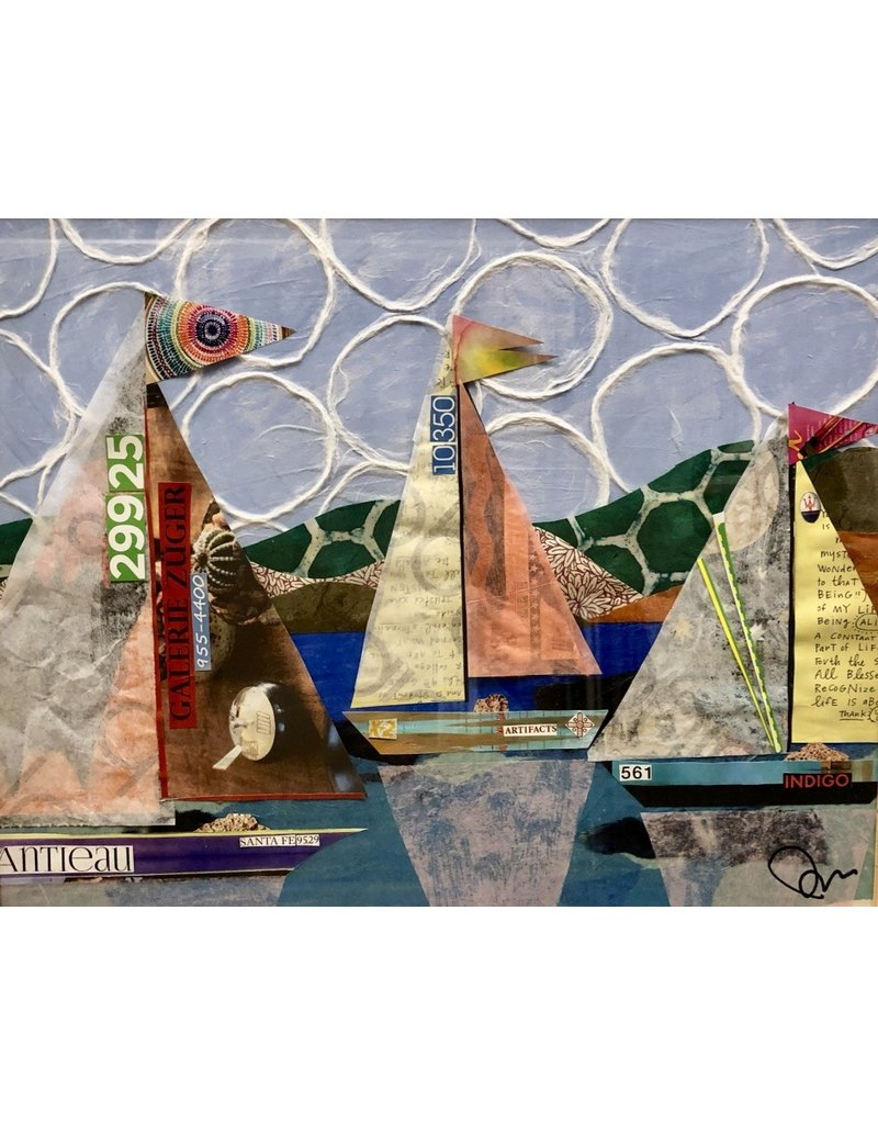 Pam Maschal Artifacts (Mixed Media Sailboats, Vintage Frame, 18x21)
