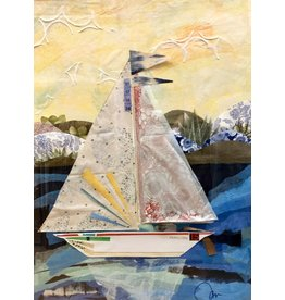 Pam Maschal Farallon (Mixed Media Sailboat, Vintage Frame, 26x32)