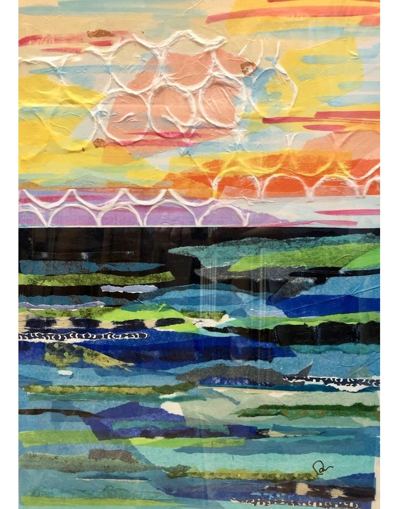 Pam Maschal Copper Sky (Mixed Media Waterscape, Vintage Frame, 26x32)